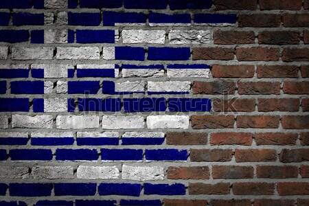 Sombre mur de briques droits Grèce texture pavillon Photo stock © michaklootwijk
