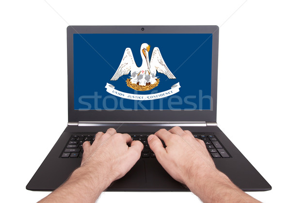 Hands working on laptop, Louisiana Stock photo © michaklootwijk