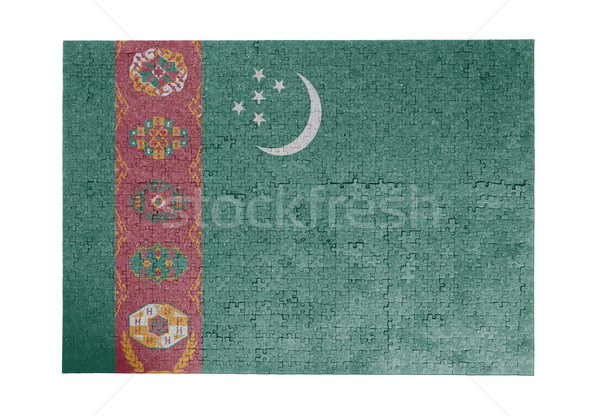 Nagy kirakós játék 1000 darabok Türkmenisztán zászló Stock fotó © michaklootwijk