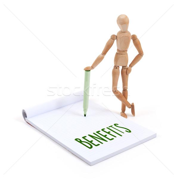 Wooden mannequin writing - Benefits Stock photo © michaklootwijk