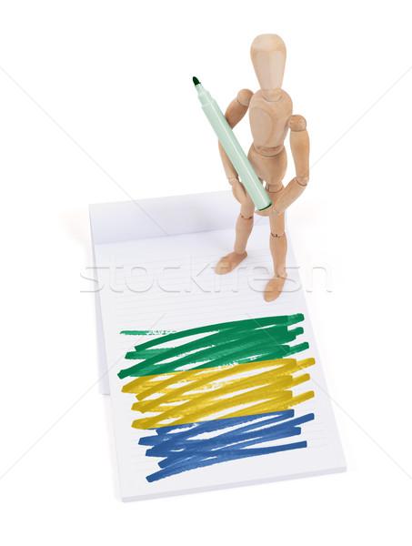 Manequim desenho Gabão bandeira papel Foto stock © michaklootwijk