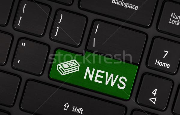 Vermelho botão escrito notícia Foto stock © michaklootwijk