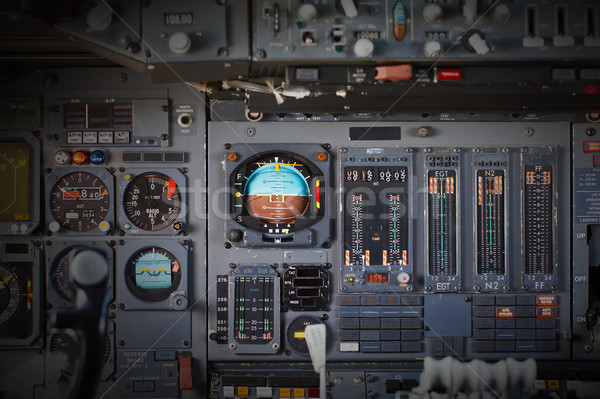 Stock photo: Different meters and displays in an old plane