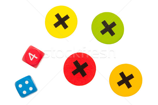 Unknown game for children, dice and crosses Stock photo © michaklootwijk