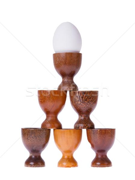 セット 異なる 木製 卵 カップ 孤立した ストックフォト © michaklootwijk