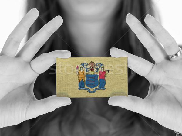 Vrouw tonen visitekaartje zwart wit New Jersey ruimte Stockfoto © michaklootwijk