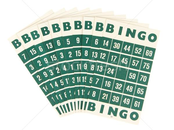 Verde bingo cartões isolado branco cor Foto stock © michaklootwijk