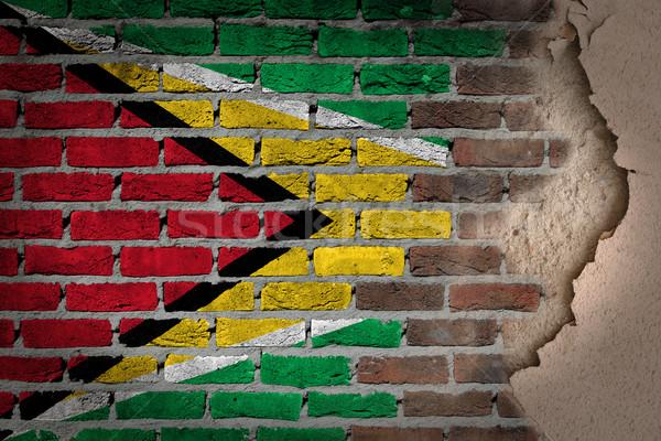 Oscuro pared de ladrillo yeso Guayana textura bandera Foto stock © michaklootwijk
