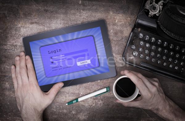 Login interface comprimido nome de usuário senha azul Foto stock © michaklootwijk