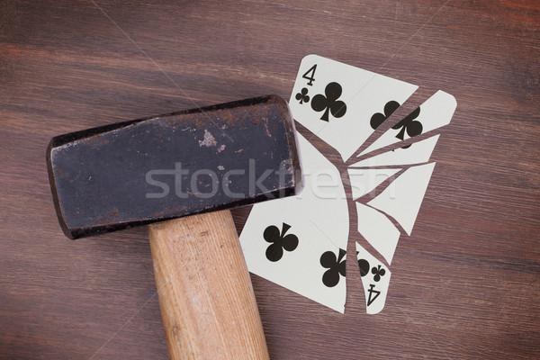 Stock fotó: Kalapács · törött · kártya · négy · klasszikus · néz