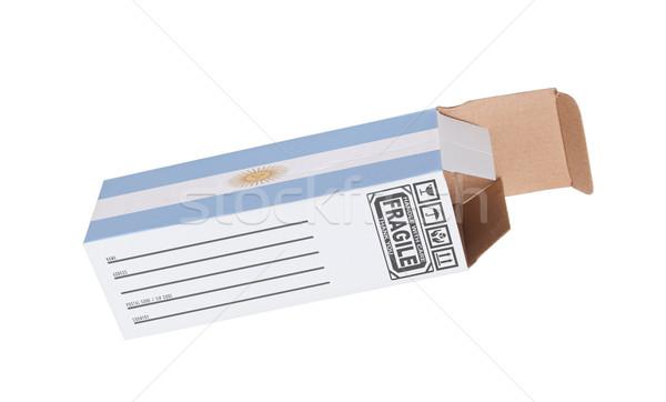 Export termék Argentína kinyitott papír doboz Stock fotó © michaklootwijk