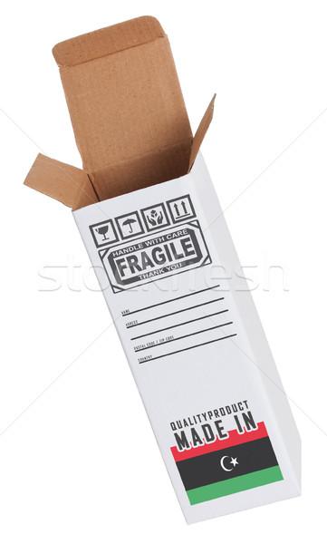 Exportar produto Líbia papel caixa Foto stock © michaklootwijk