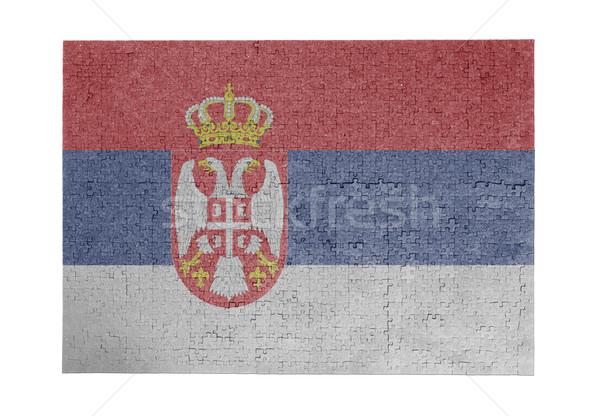 Büyük 1000 parçalar Sırbistan bayrak Stok fotoğraf © michaklootwijk