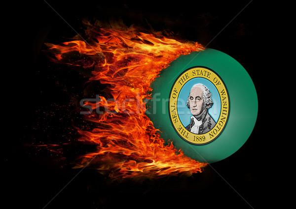 Bayrak iz yangın Washington hızlandırmak boyama Stok fotoğraf © michaklootwijk