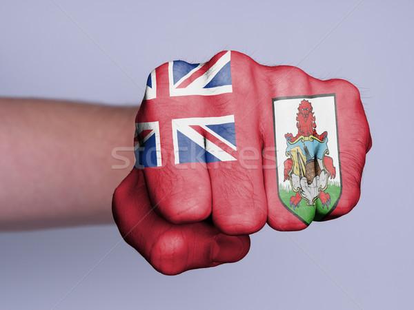 Vuist man behaard vlag hand sport Stockfoto © michaklootwijk