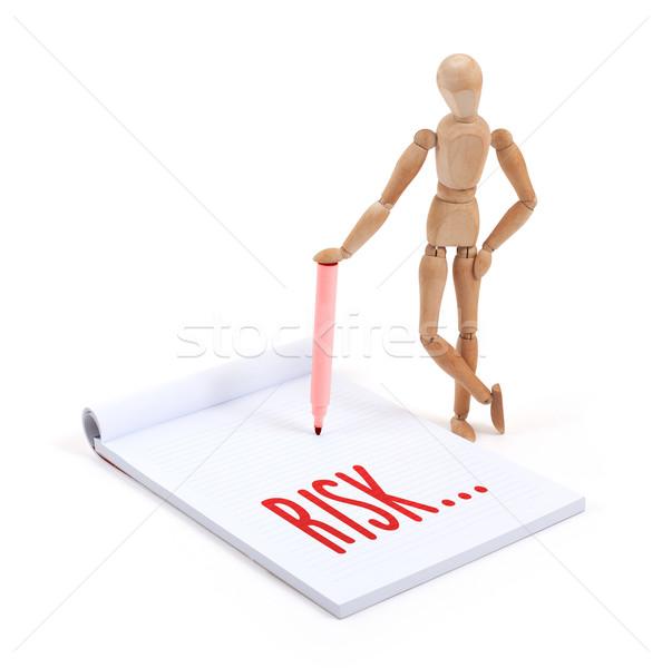 Houten etalagepop schrijven risico plakboek papier Stockfoto © michaklootwijk
