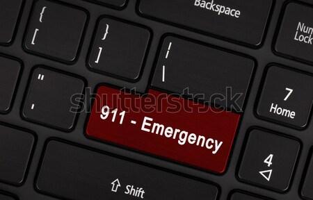 Zdjęcia stock: Czerwony · przycisk · napisany · awaryjne