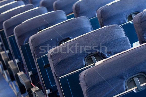 Empty old airplane seats in the cabin, selective focus Stock photo © michaklootwijk
