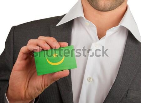 Zakenman tonen kaart mat papier effect Stockfoto © michaklootwijk