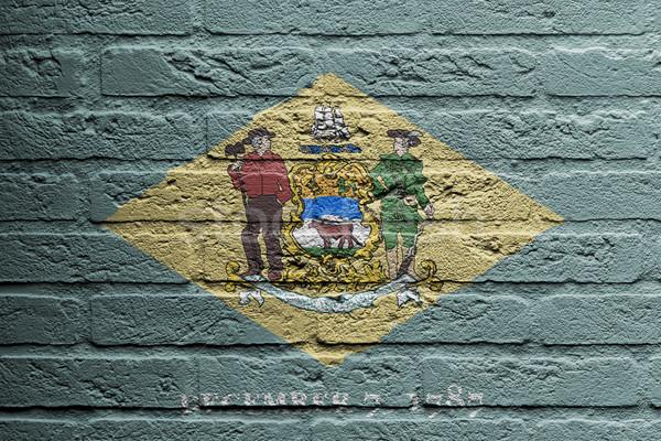 Mur de briques peinture pavillon Delaware isolé texture Photo stock © michaklootwijk