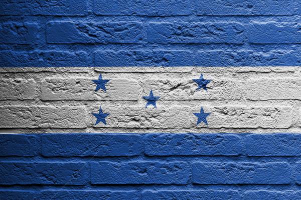 Muro di mattoni pittura bandiera Honduras isolato vernice Foto d'archivio © michaklootwijk