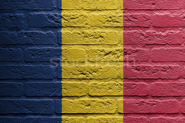 Pared de ladrillo pintura bandera Rumania aislado diseno Foto stock © michaklootwijk