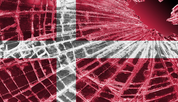Broken ice or glass with a flag pattern, Denmark Stock photo © michaklootwijk