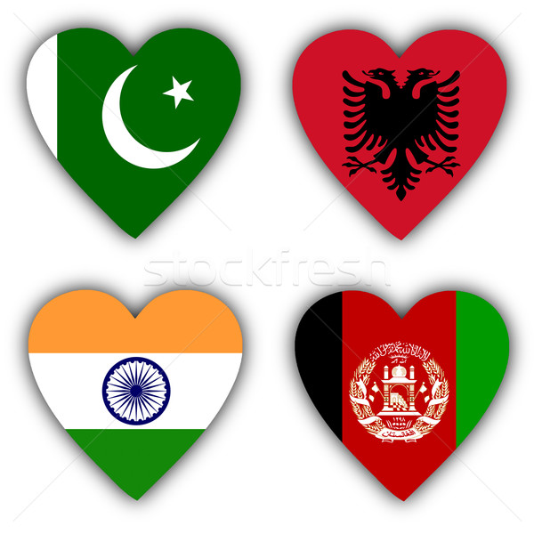 Stockfoto: Vlaggen · vorm · hart · verschillend · landen · teken