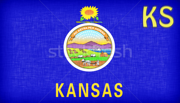Linen flag of the US state of Kansas Stock photo © michaklootwijk