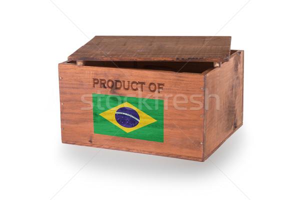 Stock fotó: Fából · készült · láda · izolált · fehér · termék · Brazília