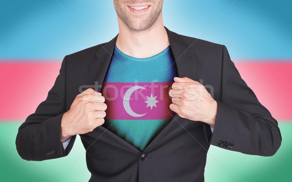 Stockfoto: Zakenman · opening · pak · shirt · vlag · Azerbeidzjan
