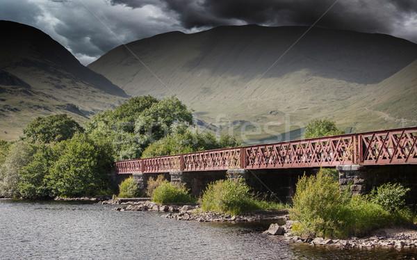 Structure of metal railway bridge, stormy clouds Stock photo © michaklootwijk