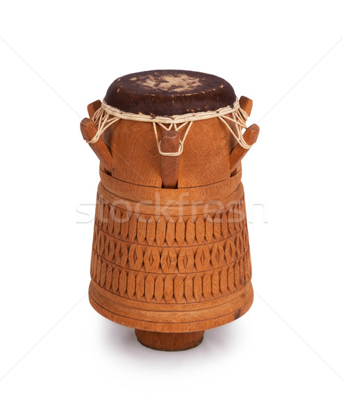 Djembe, Surinam percussion, handmade wooden drum with goat skin Stock photo © michaklootwijk