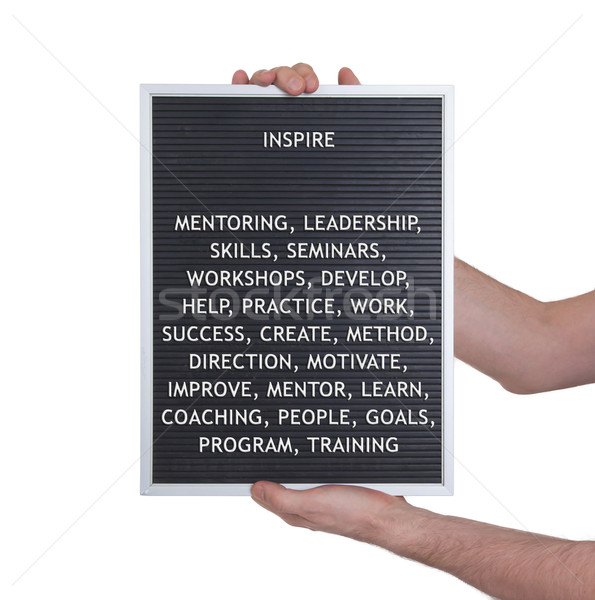 Inspire concept in plastic letters on very old menu board Stock photo © michaklootwijk