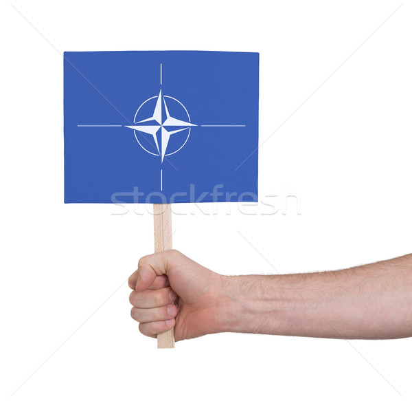 Hand holding small card - Flag of NATO Stock photo © michaklootwijk