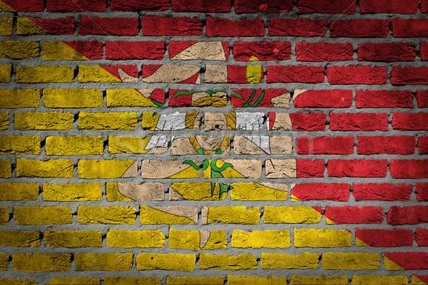Escuro parede de tijolos sicília textura bandeira pintado Foto stock © michaklootwijk