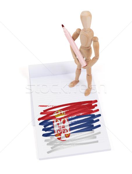 Maniquí dibujo Serbia bandera papel Foto stock © michaklootwijk