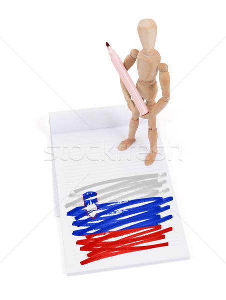 Legno mannequin disegno Slovenia bandiera carta Foto d'archivio © michaklootwijk