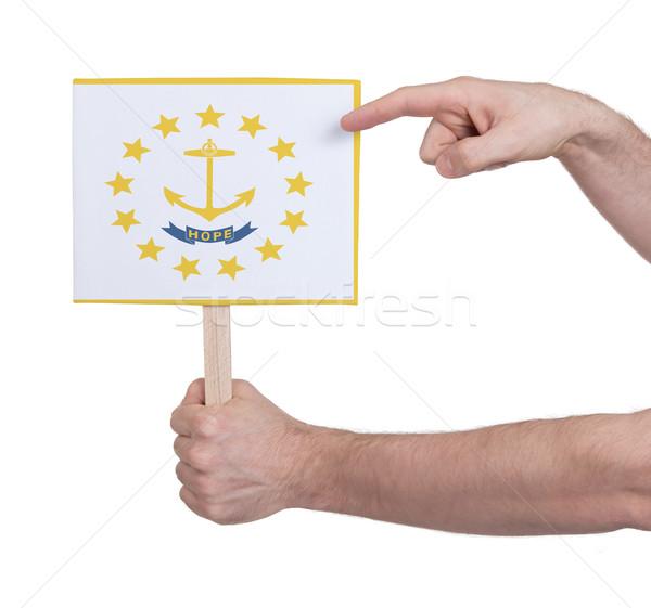 Stok fotoğraf: El · küçük · kart · bayrak · Rhode · Island