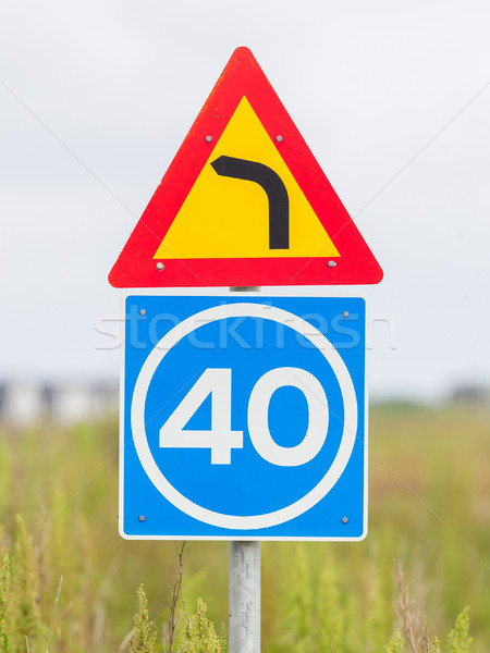Curve with advisory speed limit Stock photo © michaklootwijk