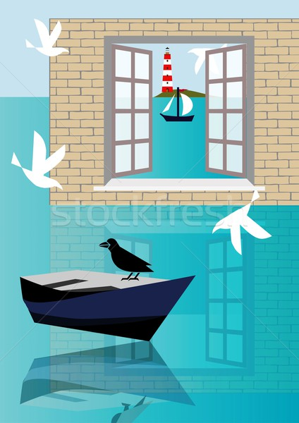Zee venster Stockfoto © MichalEyal