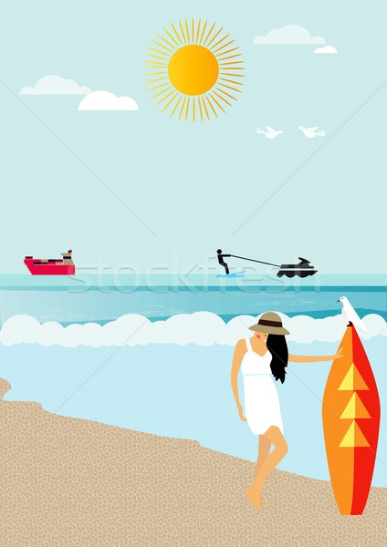 Meisje strand Stockfoto © MichalEyal