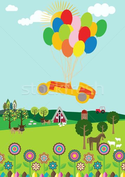 Vliegen auto koe groene ballonnen Stockfoto © MichalEyal
