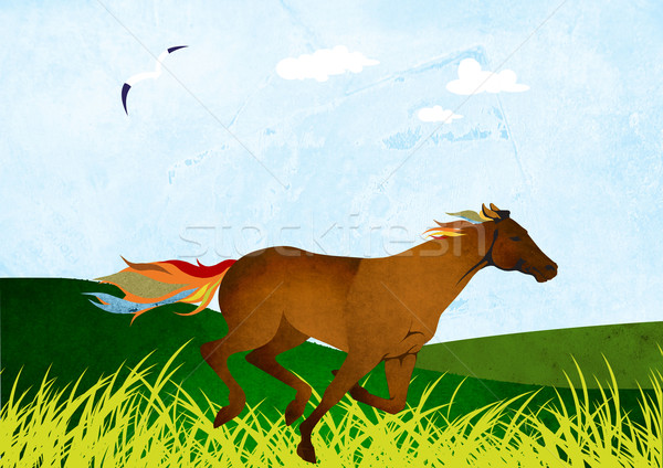Ses at nalı boyama Stok fotoğraf © MichalEyal