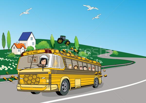 Stok fotoğraf: Bal · otobüs · çiçekler · çocuklar · manzara