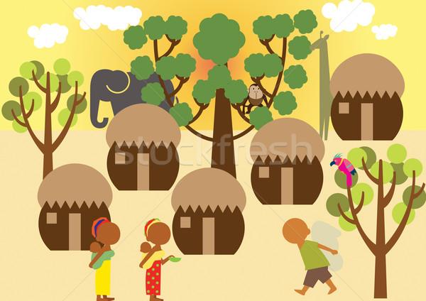 Köy Afrika doğa manzara ağaçlar Stok fotoğraf © MichalEyal