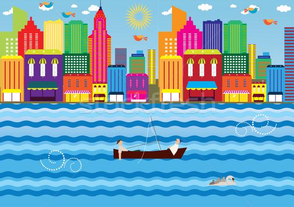 午後 水 都市 ボート 湖 表示 ストックフォト © MichalEyal