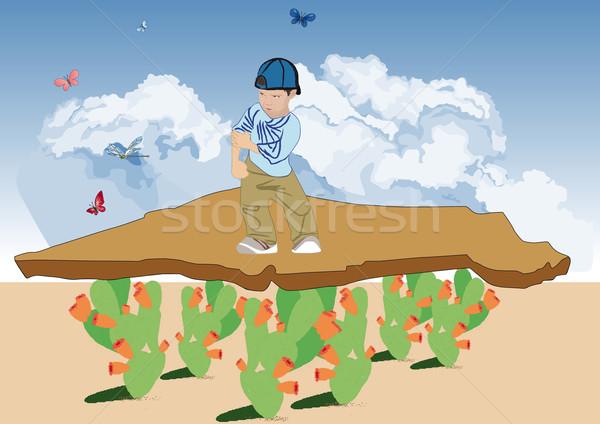 Land rand hemel kinderen Stockfoto © MichalEyal