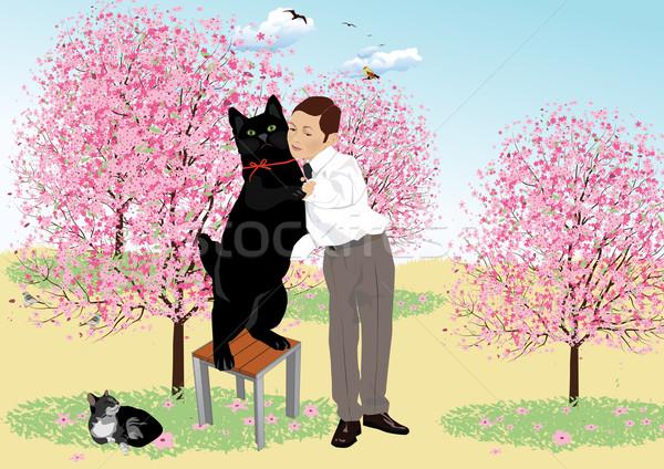 Tango gato negro danza diversión negro Foto stock © MichalEyal