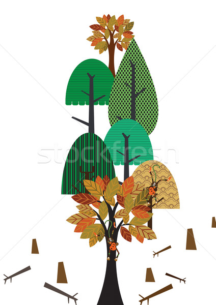 Dizayn ağaçlar geometrik monkeys Stok fotoğraf © MichalEyal